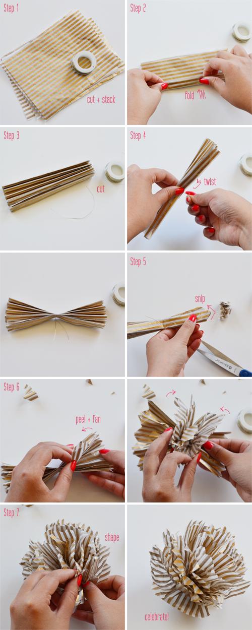 how to make tissue paper pom poms instructions