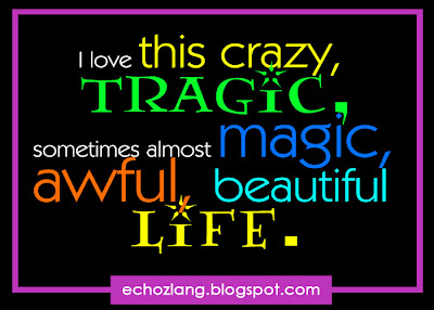 I love this crazy, tragic, sometimes almost magic, awful, beautiful life.