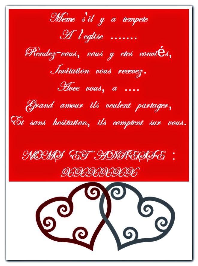 Une jolie model carte invitation mariage