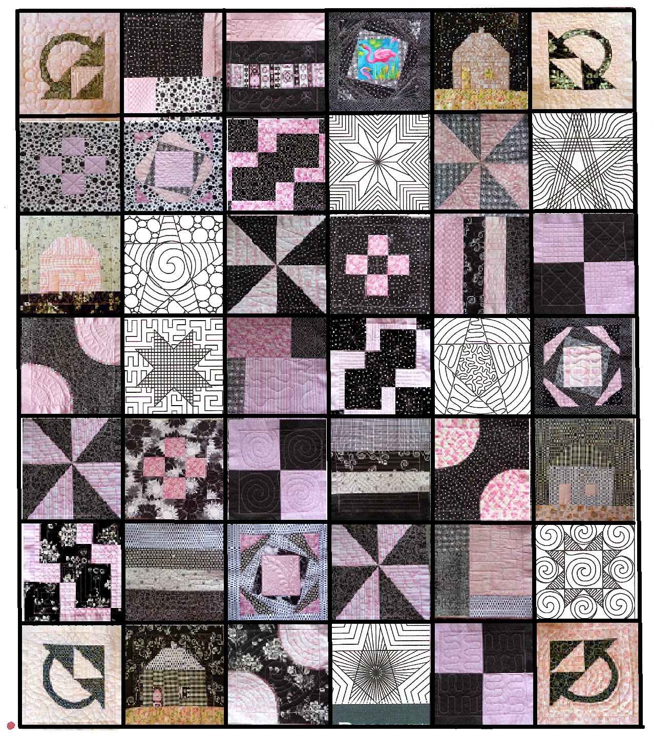 CHQuilts: Black and white and pink all over quilt diagram