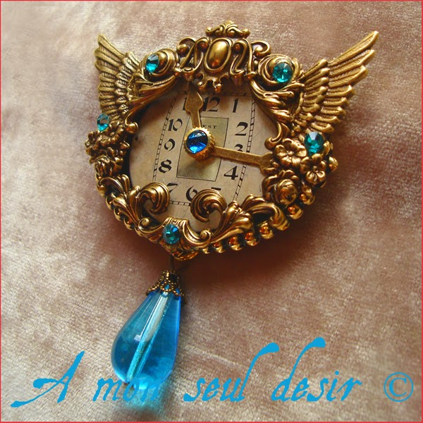 broche steampunk cadran de montre ailes wings steampunk dial watch brooch jewelry jewellery