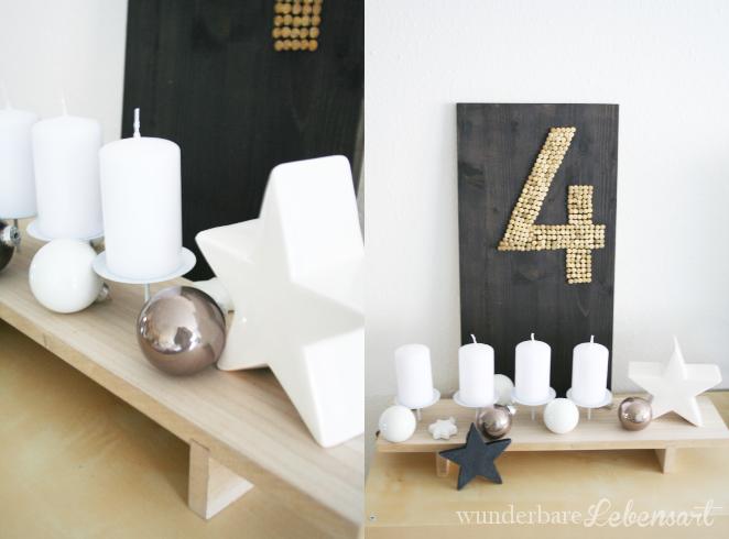 moderner Adventskranz mit Holz und natur Farben