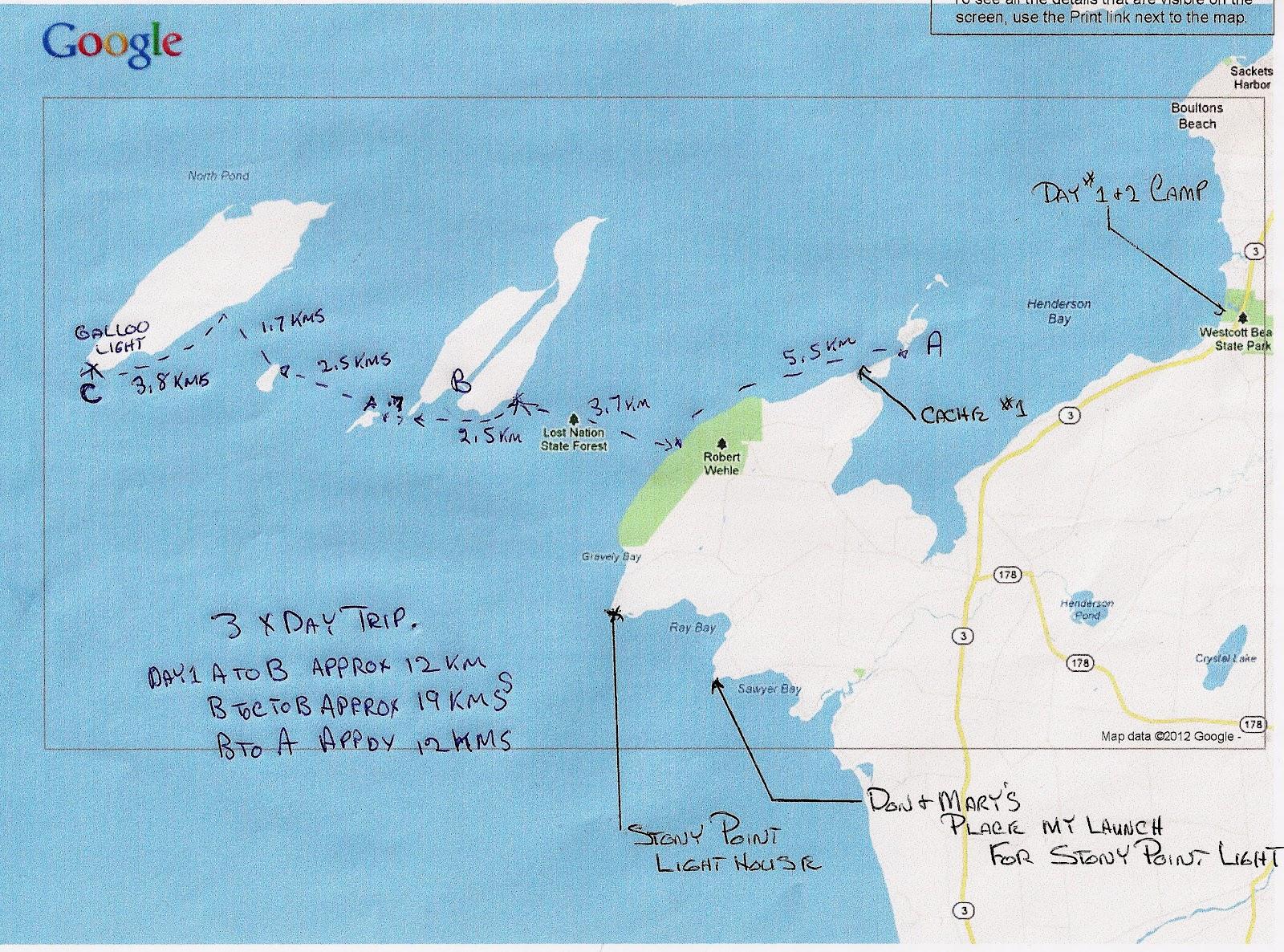 a koa camp launch point b stoney island c galloo lighthouse