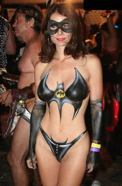 body paint gallery posing as batman