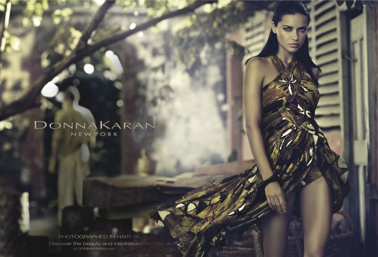 Adriana Lima Hairstyle on Donna Karan Spring 2012 Campaign 2