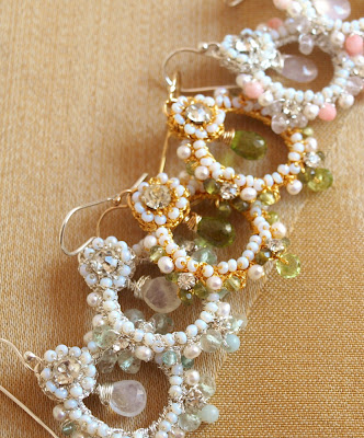 semi-precious stone and lace earrings