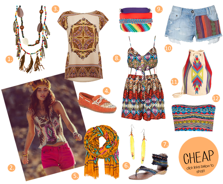 ethnic festival fashion, feather necklace, ethnic print t-shirt, Mango ethnic print, Asos feather drop earrings, moccasins, festival fashion 2012, tribal trend, friendship bracelets, ethnic bag