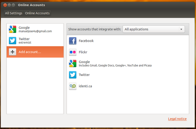 Online Accounts Ubuntu 12.10