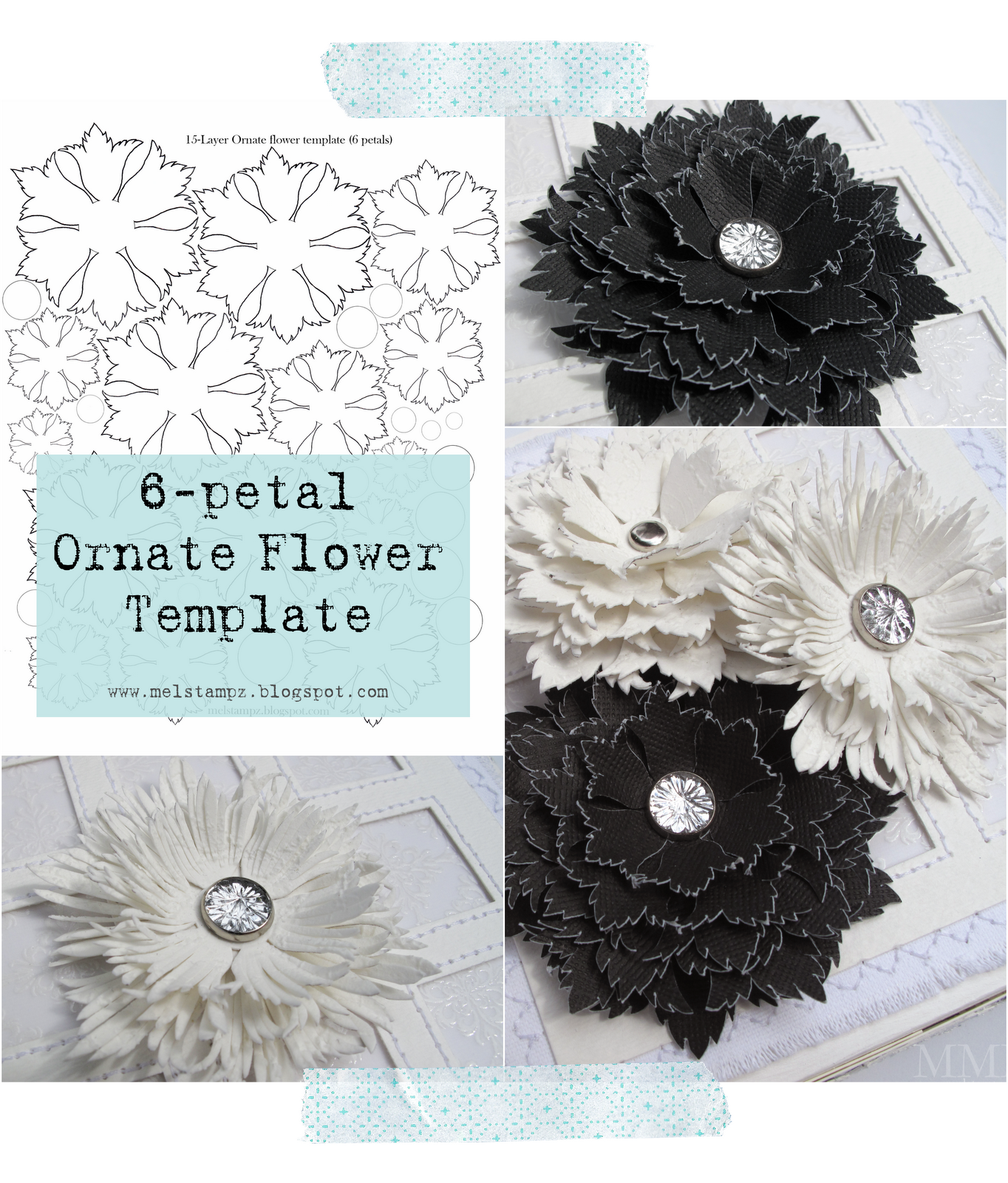 mel stampz 6 petal ornate flower template