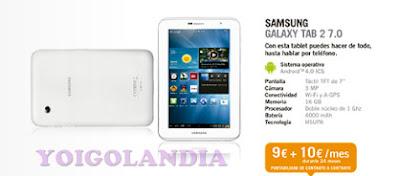 Samsung Galaxy Tab 2 7.0 por 9 euros más pago a plazos en Yoigo febrero 2013