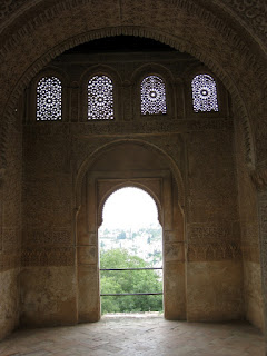 The intricate windows at the Alhambra.