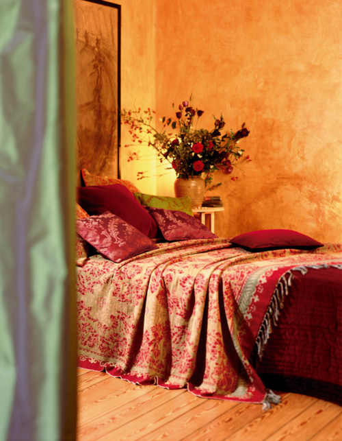 A Warm Golden Glow Is Always Inviting As Are The Lush Linens In Rich Vibrant Hues