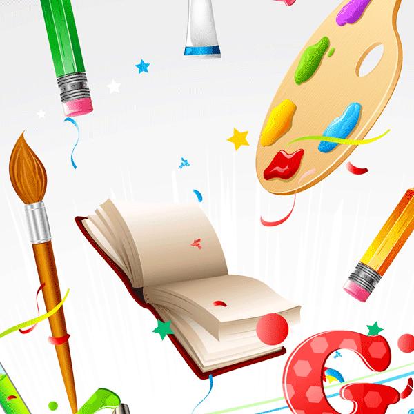 letras, pinceles, libros