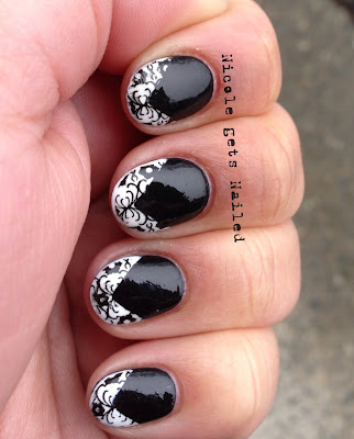 Black with White Chevron Tips and Black Stamping