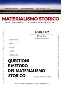 """E' on line il primo numero di """"Materialismo Storico"""" (1-2/2016)"""