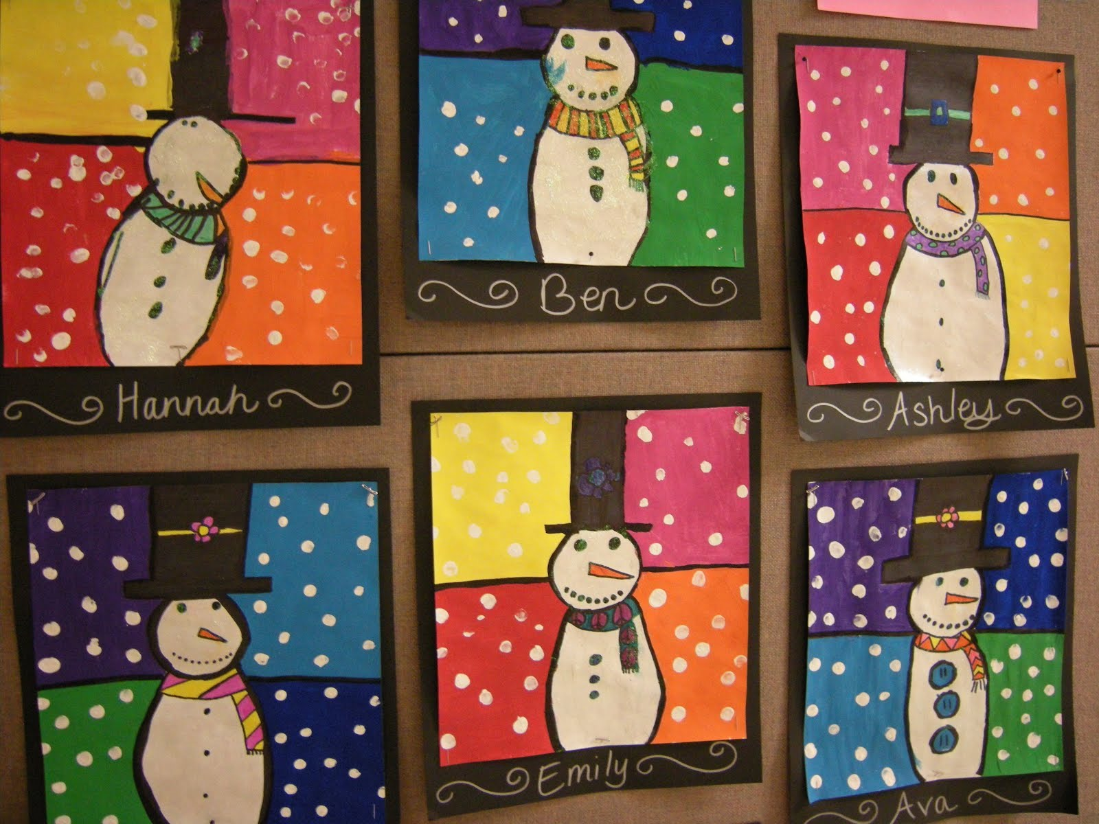 Artolazzi warm cool snowmen paintings for Crafts for 3rd graders