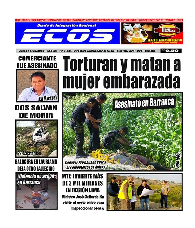 Esta es la edición del Diario ECOS lunes 11 de mayo del 2015