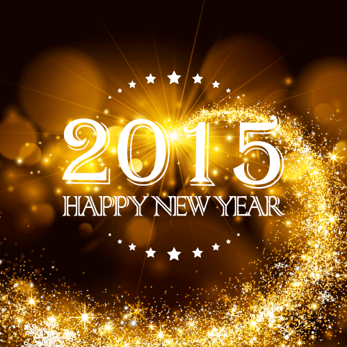 Logo 2015 sobre fondo de estrellas dorado