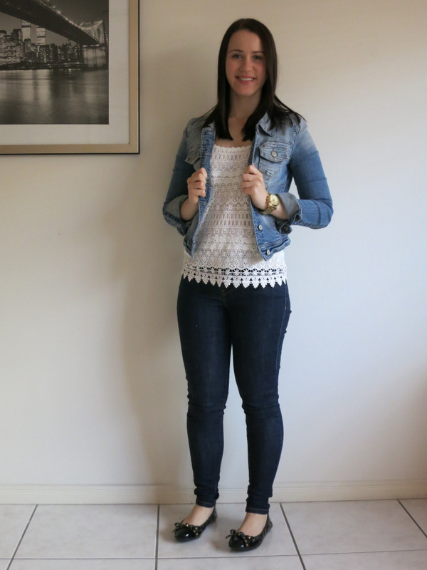 college outfit, university outfit, petite outfit, double denim, canadian tuxedo, cream embellished top, spring outfit, denim jacket