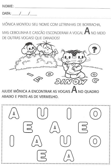 Atividades de português para segundo período, educação infantil - Turma da Mônica