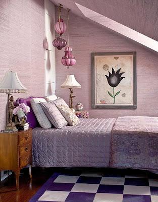 dormitorios acentos púrpuras