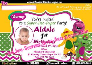 Invitation Card Barney Kartu Undangan Ulang Tahun Anak (Invitation Card)