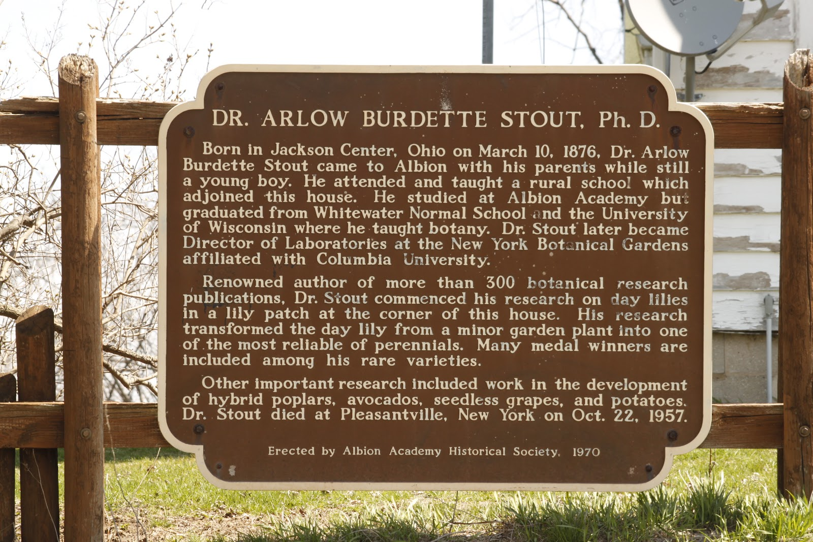 Marker of the Week:<br>WRL-86: Dr. Arlow Burdette Stout, Ph.D.