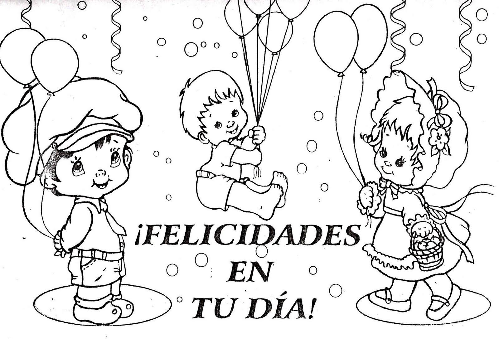 Banco de Imagenes y fotos gratis: Feliz Día del Niño para Colorear