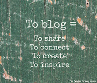 Quote that reads: To blog= To share, to connect, to create, to inspire