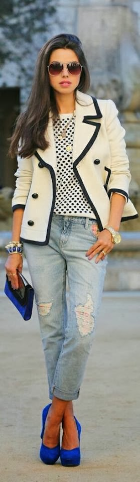 J.Crew Tipped Wool Peacoat and Adorable Blouse with Jeans, Blue Handbag and High Heel Shoes