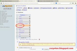 Database senayan pada phpmyadmin