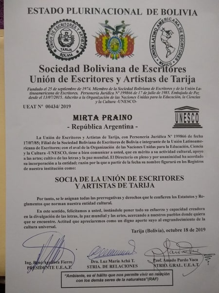 Mirta Praino Socia de la Union de Escritores y Artistas de Tarija Bolivia
