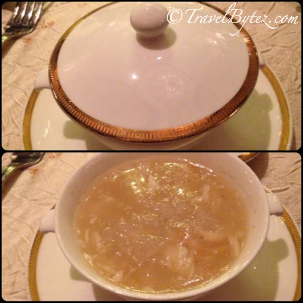 Braised bird's nest broth with crab meat and sea treasures