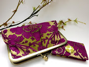 Purple Damask Clutch/ Wallet Set by Etsy Artist : jcarterhandmade.
