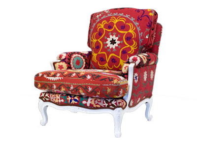 French, lounge chair, design, suzani