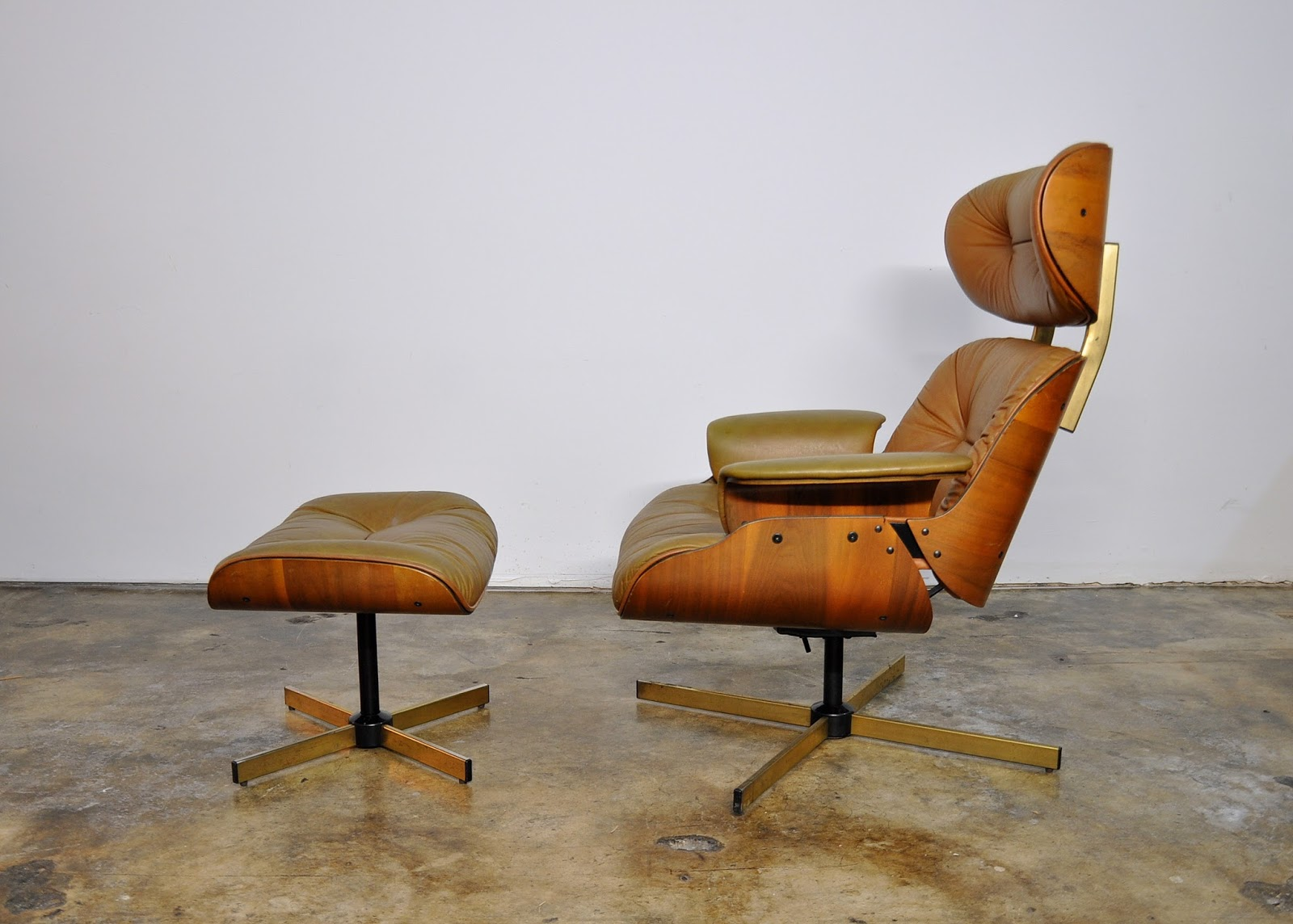 Selig chair and ottoman - Frank Doerner Eames Style Leather Lounge Chair Ottoman