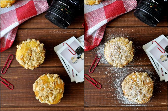 muffiny, rabarbar, kruszonka, wypieki szybkie, babeczki z rabarbarem