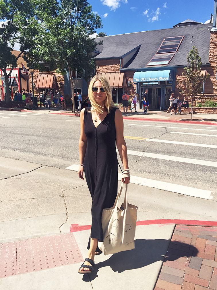 Fashion Over Reason Luxe dress from MIMO Market Miami, Birkenstocks, Estes Park Colorado