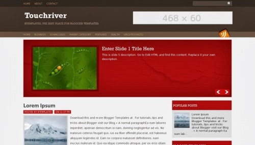 Touchriver Blogger Template với Slideshow đẹp