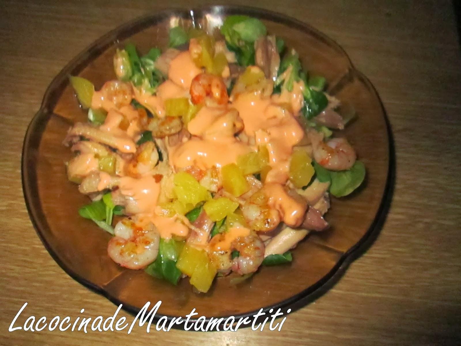 La cocina de martamartiti ensalada de can nigos con gambas - Ensaladas con canonigos ...