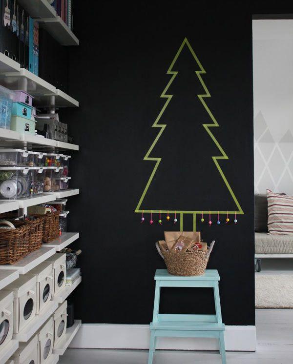 Árvores de natal criativa de parede com decotape