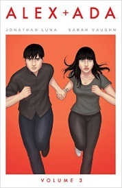 Cover of Alex + Ada Volume Three, featuring two pale-skinned, dark-haired people in dark clothing running directly towards the viewer. They hold hands. The background is brilliant orange bordered in white.