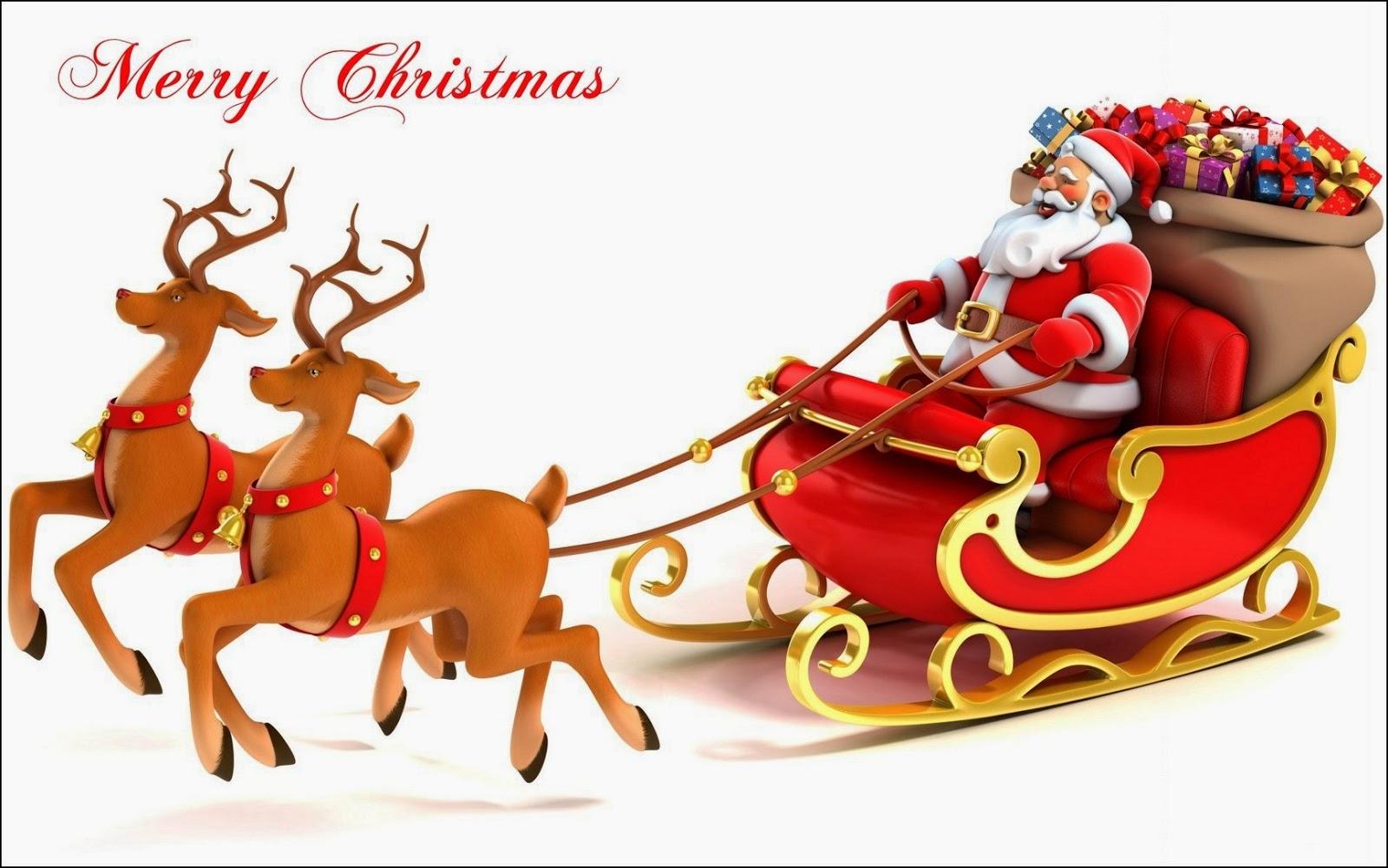 Trineo de Papa Noel en Navidad