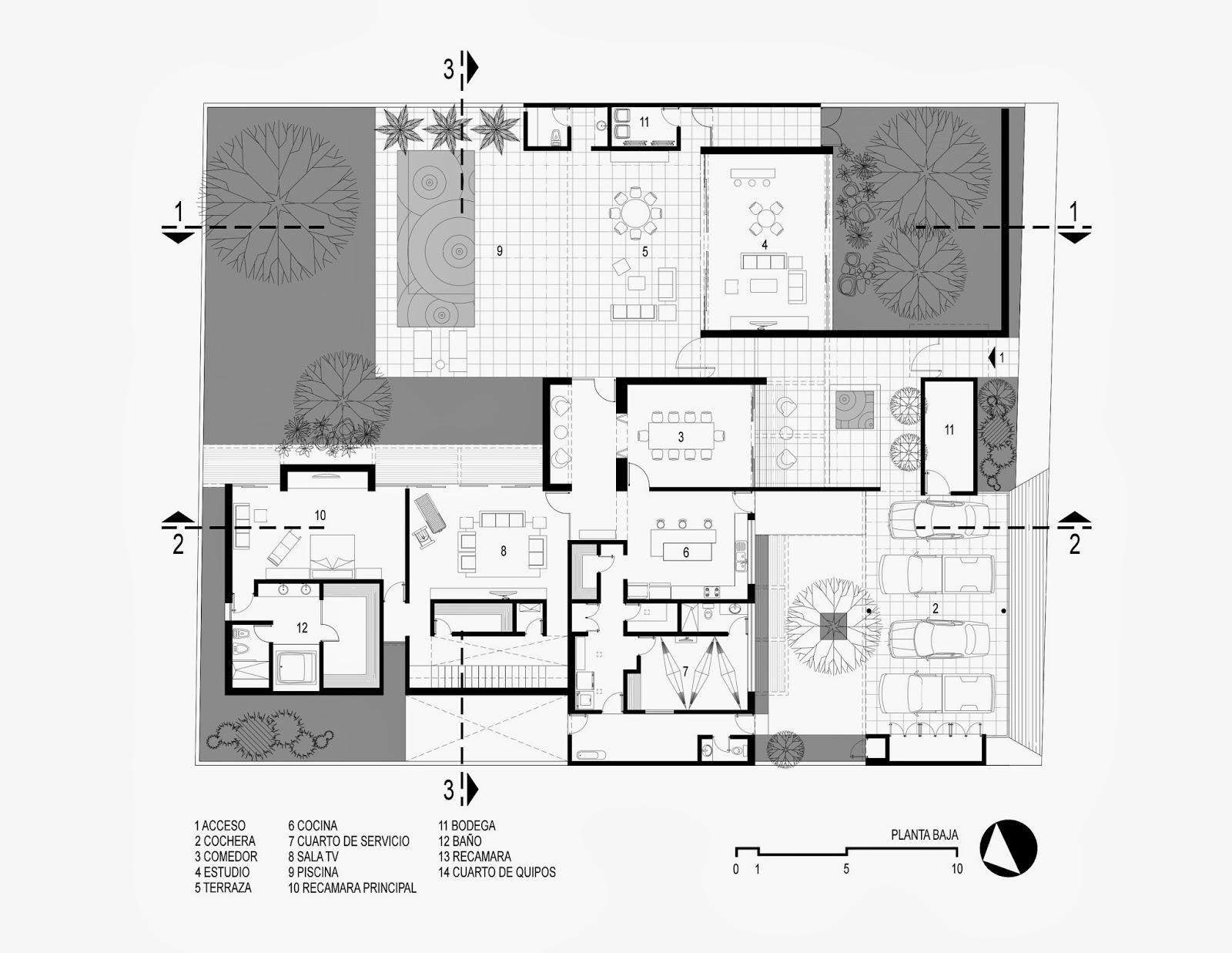 Apuntes revista digital de arquitectura proyecto casa altabrisa 24 en m xico grupo arquidecture - Planta de salon ...