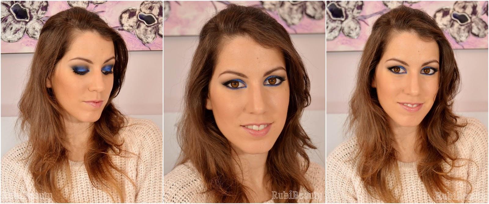 rubibeauty maquillaje fiesta navidad christmas makeup xmas 2014 azul blue pigmentos