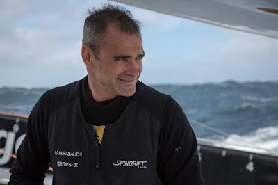 Yann Guichard, skipper de Spindrift 2, sur le Trophée Jules Verne.