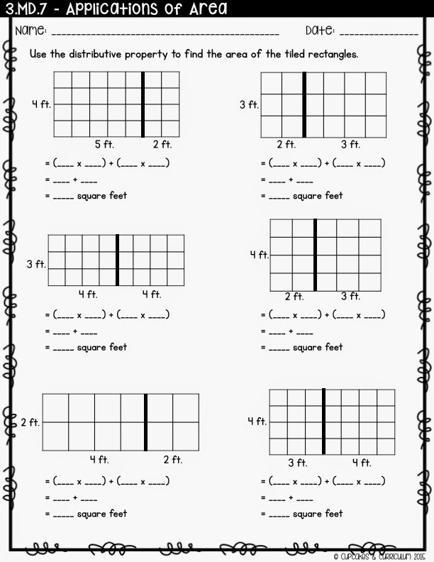 Cupcakes Curriculum Teaching Distributive Property Using an – 3rd Grade Area Worksheets