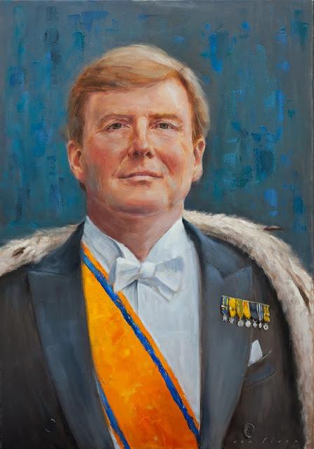 portret olieverf van koning Willem Alexander, schilderij