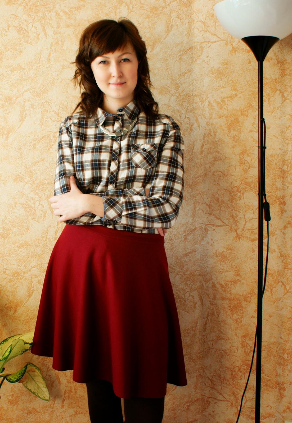 комбинированная юбка из двух цветов