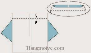Bước 6: Gấp lớp giấy trên cùng xuống dưới.
